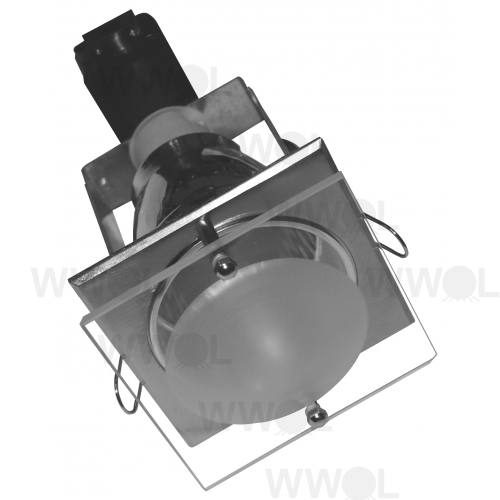 DOWNLIGHT SQUARE BRUSHED-CH GLASS FROST