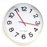 ZONE 60CM WHITE WALL CLOCK WITH BLACK NUMBERS