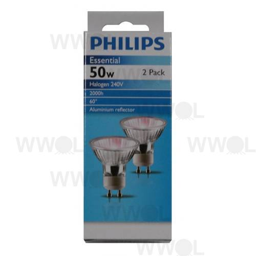 PHILIPS GU10 50W 240V 2 PACK