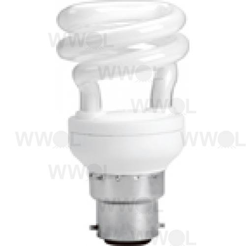 8 WATT T2 SPIRAL B22 WARM WHITE COMPACT FLUORO GLOBE