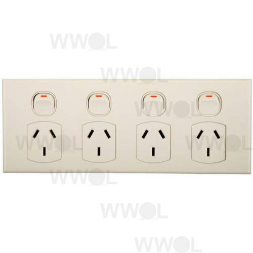 POWER OUTLET 4GANG GEO 10A  HORIZONTAL