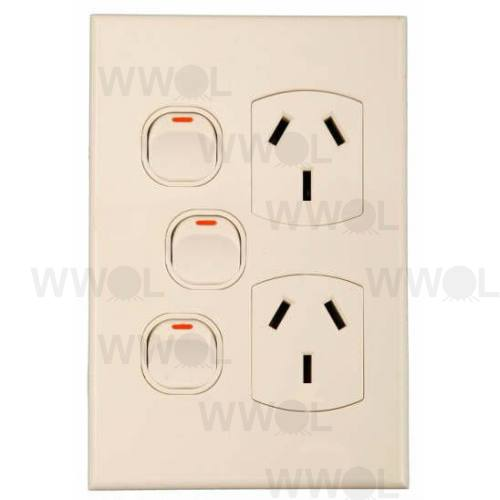 POWER OUTLET DOUBLE EXTRA SWITCH GEO VERTICAL