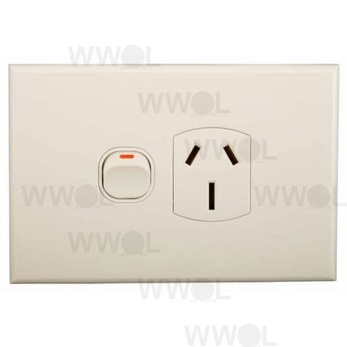 POWER OUTLET SINGLE GEO 15A HORIZONTAL