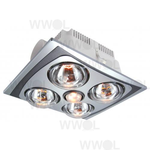 4 Heat Fan Light 3in1 Combo Silver