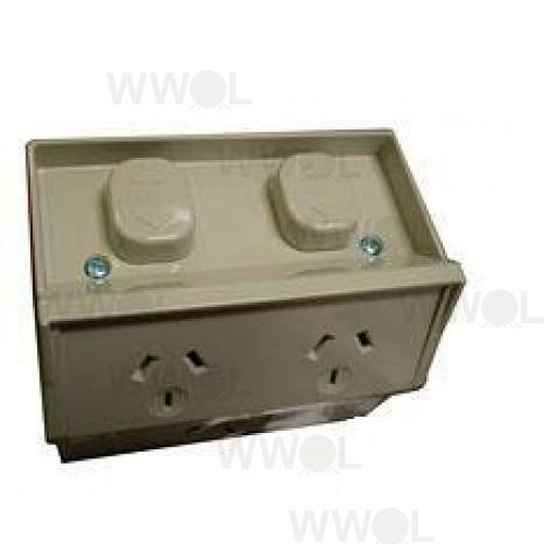 WEATHERPROOF OUTLET DOUBLE 10 AMP
