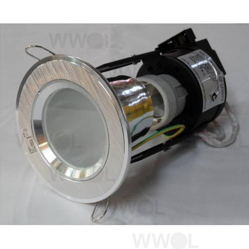 MINI DOWN LIGHT BRUSHED ALUMINIUM/FROST GLASS INC CFL LAMP