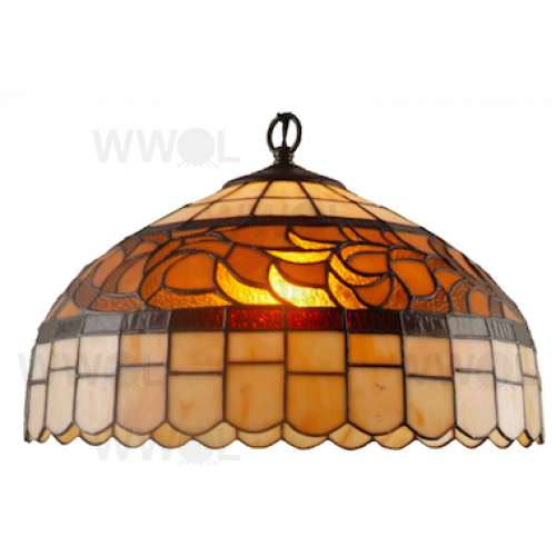 16 INCH AUTUMN LEAVES LEAD LIGHT PENDANT