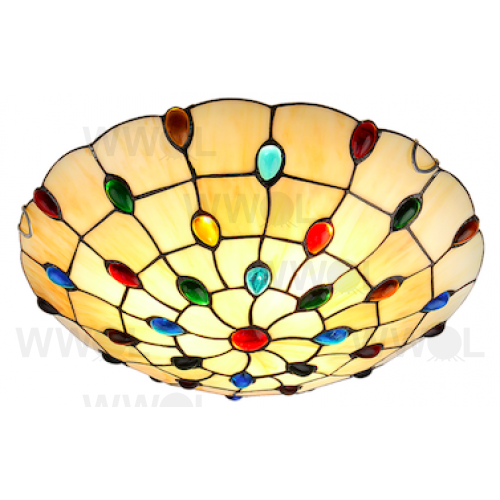 16 INCH FLUSH TO CEILING MULTI JEWEL LEAD LIGHT OYSTER