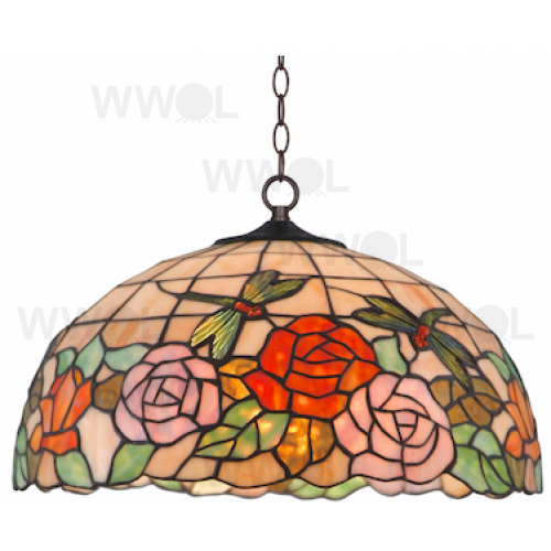 16 INCH ROSE WITH DRAGON FLY LEAD LIGHT PENDANT
