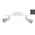 2 LIGHT GLASS WHITE 9 WATT LED TRACK LIGHT