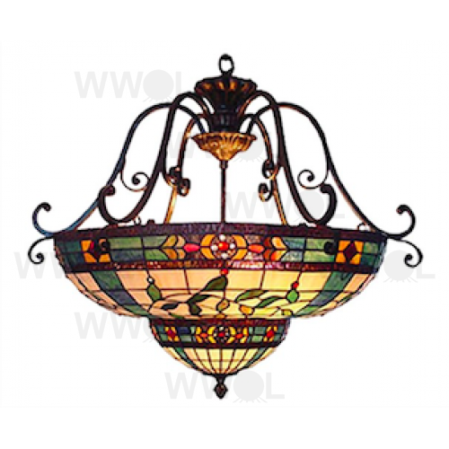 22 INCH FLORAL HANGING LEAD LIGHT PENDANT