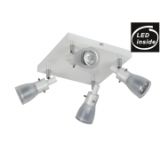 4 LIGHT GLASS SQUARE PLATE WHITE 9 WATT LED TRACK LIGHT