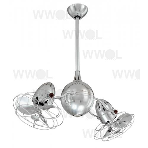 Acqua Polished Chrome Incl Caged Metal Blades Ceiling Fan