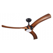 AEROFORCE 2 132CM THREE ABS POLYMER BLADE MATT BLACK KOA INCL 17W LED CCT DIMMABLE LIGHT CEILING FAN