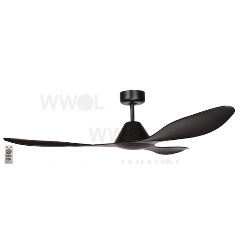 AIR APACHE 130CM MATT BLACK DC CEILING FAN INC 5 SPEED REMOTE