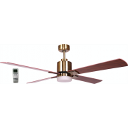 AIR ELITE II DC ANTIQUE BRASS 4 BLADE LED LIGHT CEILING FAN INC REMOTE