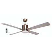AIR ELITE II DC BRUSHED NICKEL 4 BLADE LED LIGHT CEILING FAN INC REMOTE