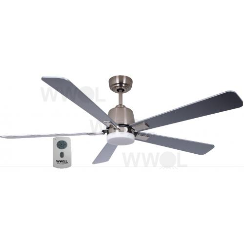 AIR ELITE DC SILVER FIVE BLADE CEILING FAN INC REMOTE INC LED LIGHT
