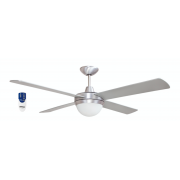 AIR FLIGHT II 120CM BRUSHED ALUMINIUM CEILING FAN TWO LIGHT REMOTE PACKAGE