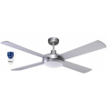 AIR FLIGHT 130CM BRUSHED ALUMINIUM CEILING FAN LED LIGHT REMOTE PACKAGE