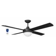AIR FLIGHT II 120CM MATT BLACK CEILING FAN TWO LIGHT REMOTE PACKAGE