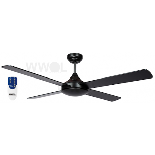 AIR SYNERGY II 120CM MATT BLACK CEILING FAN REMOTE PACKAGE