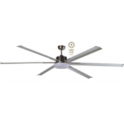 ALBATROSS SIX BLADE DC 182CM BRUSHED NICKEL INCL 24W LED TRI COLOUR DIMMABLE LIGHT INCL 5 SPEED REMOTE CEILING FAN