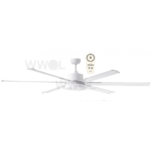 ALBATROSS SIX BLADE DC 182CM WHITE INCL 24W LED TRI COLOUR DIMMABLE LIGHT INCL 5 SPEED REMOTE CEILING FAN