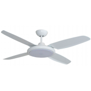 BERET MOULDED ABS 132CM WHITE INCL 24W LED CCT STEP DIM LIGHT HIGH AIR MOVEMENT CEILING FAN