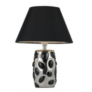 BLACK AND CHROME OVAL TABLE LAMP