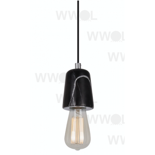 BLACK CURVED MARBLE SUSPENSION PENDANT