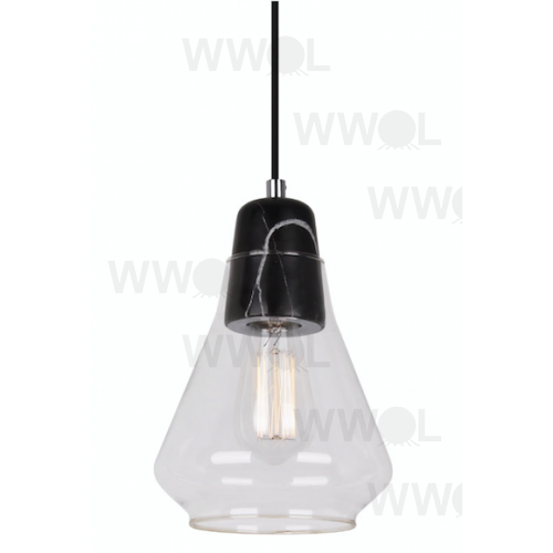BLACK MARBLE INCLUDING CLEAR GLASS ONE LIGHT PENDANT