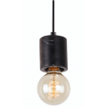 BLACK CYLINDER MARBLE ONE LIGHT PENDANT