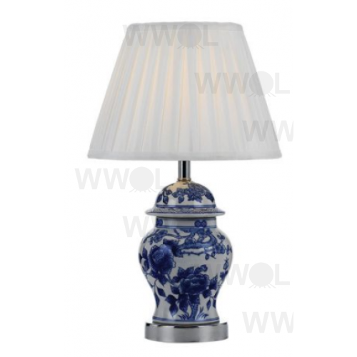 BLUE CERAMIC PAINTED TABLE LAMP
