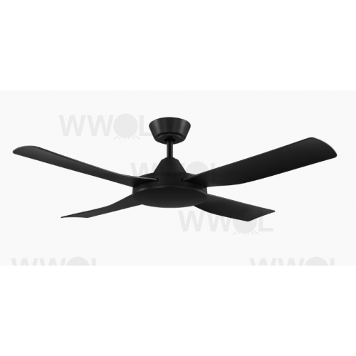 BONDI FOUR BLADE 132CM ABS PLASTIC MATT BLACK CEILING FAN