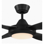 BONDI FOUR BLADE 122CM ABS PLASTIC MATT BLACK INCL 20W TRI-COLOUR LED LIGHT CEILING FAN