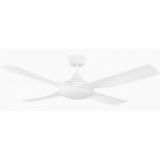 BONDI FOUR BLADE 122CM ABS PLASTIC MATT WHITE INCL 20W TRI-COLOUR LED LIGHT CEILING FAN