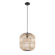 BORDESLEY LARGE RATTAN COASTAL BLACK WOOD PENDANT