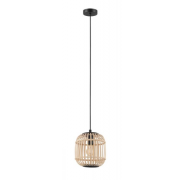 BORDESLEY SMALL RATTAN COASTAL BLACK WOOD PENDANT