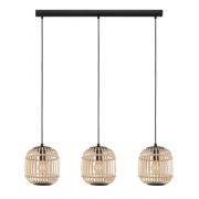 BORDESLEY THREE LIGHT RATTAN COASTAL BLACK WOOD PENDANT