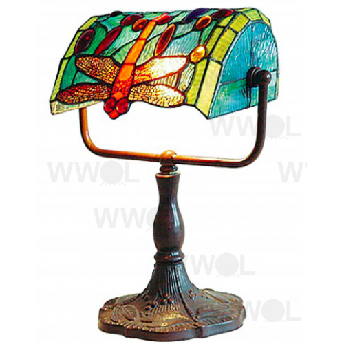 DRAGONFLY LEADLIGHT BANKERS LAMP