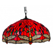 DRAGONFLY RED 18 INCH LEADLIGHT PENDANT
