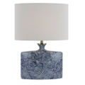 ELLIPTICAL BLUE AND WHITE CERAMIC TABLE LAMP