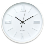 ZONE 40CM WHITE EMBOSSED FACE ROUND CLOCK