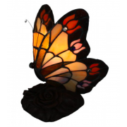 FLORAL BUTTERFLY LEADLIGHT TABLE LAMP