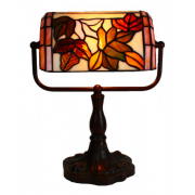 FLORAL LEADLIGHT BANKERS LAMP
