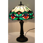 GREEN FLOWER 12 INCH LEADLIGHT TABLE LAMP
