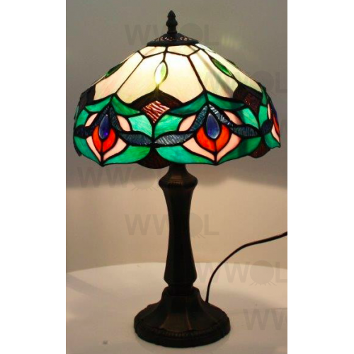 Green flower 12 inch leadlight table lamp for 12 inch table lamp