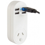 FOUR OUTLET 1 AMP USB CHARGER WITH SURGE PROTECTED MAINS OUTLET