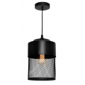 CYLINDER SMALL WIRE MESH MATT BLACK PENDANT